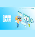 online exam website landing page design vector image