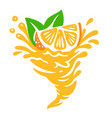 orange fruit spinning in whirlwind juice vector image vector image