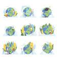 people cleaning earth planet set volunteers vector image