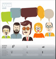 people with speech bubbles teamwork banner and vector image vector image