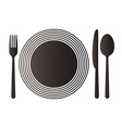 Plate knife spoon and fork vector image vector image