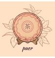 puer tea on brown background vector image vector image