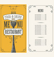 restaurant menu with price list and fork vector image vector image