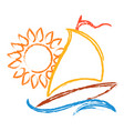sailboat and sun symbol vector image