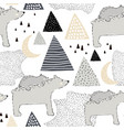 seamless childish pattern with polar bear mom and vector image vector image