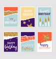 set of birthday greeting cards with gold glitter vector image vector image