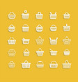 set of white shopping basket vector image vector image