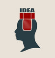 silhouette of a man head with screw vector image vector image