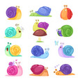 snail snail-shaped character with shell vector image