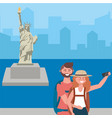 statue liberty in new york design vector image vector image