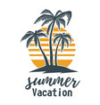 summer emblem with palms design element for logo vector image