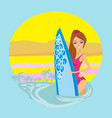 surfer girl on a beach icon vector image