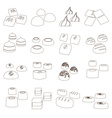 sweet chocolate truffles styles outline icons set vector image