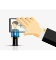 Taking a picture of businessman hand with