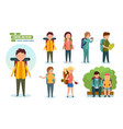 tourists engaged in hiking camping equipment vector image