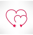 two hearts made from electric line with vector image vector image