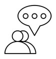 two people dialogue thin line icon two users chat vector image vector image