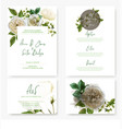 wedding stationary kit with watercolor white roses vector image
