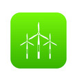wind generator turbines icon digital green vector image vector image