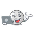 with laptop golf ball character cartoon vector image
