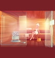 woman in sauna take steam wellness spa procedure vector image