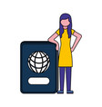 young woman with passport document vector image