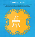 barbecue icon sign Floral flat design on a blue vector image