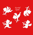 a set of white cupid silhouettes vector image