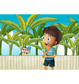 A boy and a monkey near the banana plantation vector image vector image
