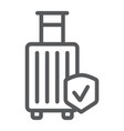 baggage insurance line icon protection and vector image vector image
