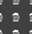 Beer glass icon sign Seamless pattern on a gray vector image vector image