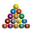 billiards pool balls racked set realistic 3d isola vector image