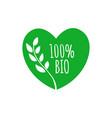 bio heart shape badge bio green label sticker vector image