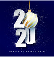 blue 2020 happy new year holiday vector image vector image