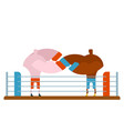 boxing fight in ring two fighters box athletes in vector image