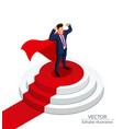businessman stands on a round podium vector image vector image