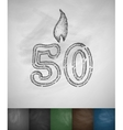 candle fifty icon vector image vector image