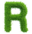 capital letter r from grass on white vector image vector image