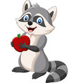Cartoon raccoon holding a red apple
