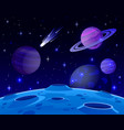 cartoon space landscape cosmic planet surface vector image