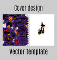 cover design with halloween icons pattern vector image vector image