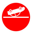 crashed car sign white icon in red circle vector image vector image