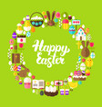 easter greetings flat circle vector image vector image