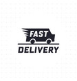 fast delivery concept with truck van in black colo vector image