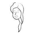 figure happy cute woman face with hairstyle vector image vector image