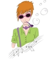 Hand drawn of boy in sun glasses vector image