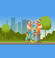happy tired parents with many children on city vector image