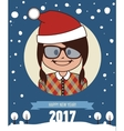 Hipster New Year 2017 greeting card vector image