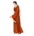japanese woman wearing traditional kimono dress vector image