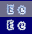 letter e on grey and blue background vector image